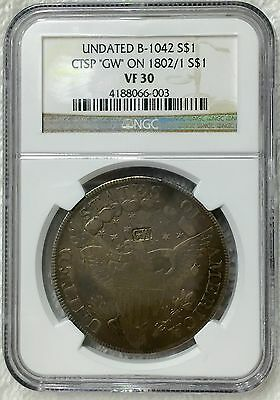 """1802/1 Draped Bust Dollar **very Rare** Certified Ngc Vf-30 Counterstamp """"gw"""""""