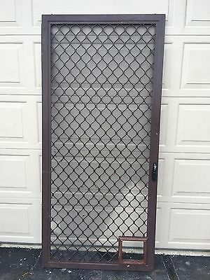 Aluminium Sliding Security Door with Animal Entry Needs New Flywire 2040x935mm