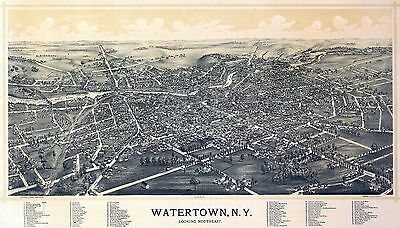 WATERTOWN NEW YORK STATE NY Antique old map genealogy family history c1891 ny192
