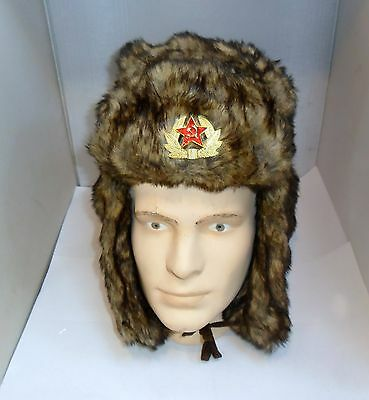 New Winter Faux Fur Polar Expo Hat With Russian Badge