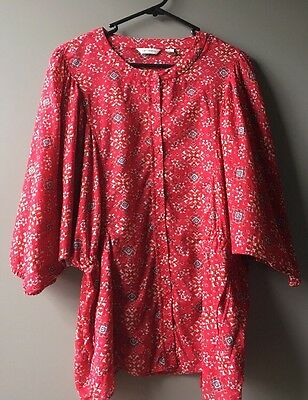 COUNTRY ROAD Womens Red And Black 100 % Cotton Top Size L. As New.