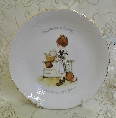 VINTAGE HOLLY HOBBIE 20cm BOWL DISH HAPPINESS IS HAVING SOMEONE TO CARE FOR