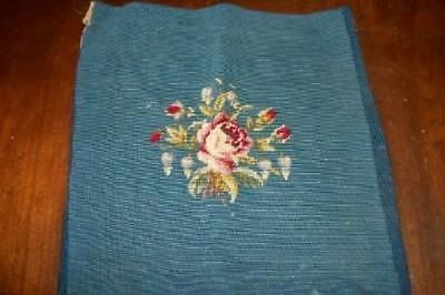 A Vintage French Roses Needlepoint Pillow Top Picture Shabby Chic Blue