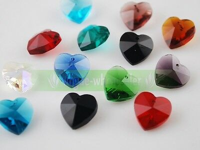 25pcs 10mm Mixed Heart Faceted Crystal Glass Loose Spacer Beads