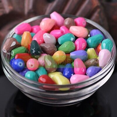 30pcs 12x8mm Mixed Coated Color Teardrop Faceted Opaque Glass Loose Spacer Beads