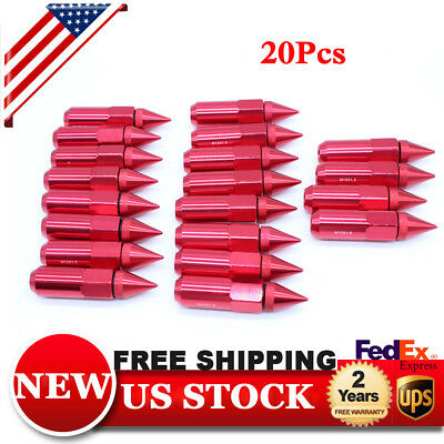 20Pcs 60mm Spiked Aluminum Extended Tuner M12X1.5 Wheels/Rims Lugs Nuts RED