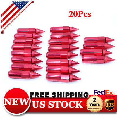 20Pcs Red M12X1.5 Spiked Extended 60mm Aluminum Tuner Wheel Rims Lug Nut Nuts