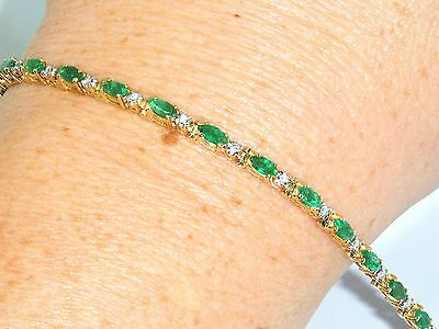 "14CT Gold 14k Yellow Gold Diamond & Emerald Tennis 7 "" Bracelet"