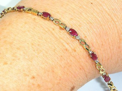 "9ct Gold 9k Gold Beautiful Ruby & Diamond Bracelet 7 1/2 "" Hallmarked ,Boxed"