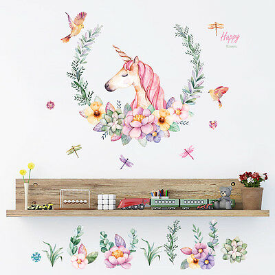 Unicorn Removable Wall Stickers Decal Art Vinyl Flower Mural Home Room Decor DIY