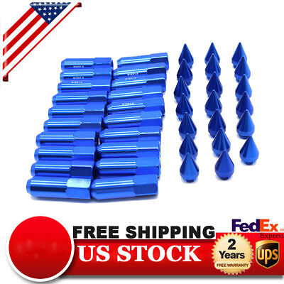 20pcs M12X1.5 Spiked Extended 60mm Aluminum Tuner Wheel Rims Lug Nut Nuts Blue