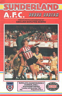1987/88 Sunderland v Southend United, Division 3, PERFECT CONDITION
