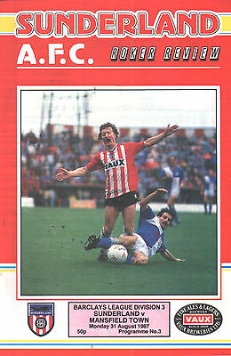 1987/88 Sunderland v Mansfield Town, Division 3, PERFECT CONDITION