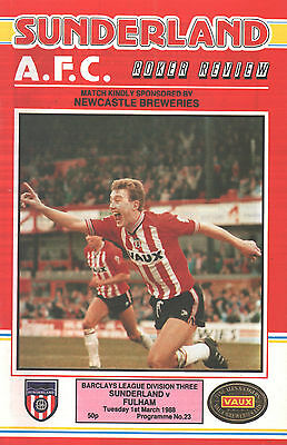 1987/88 Sunderland v Fulham, Division 3, PERFECT CONDITION