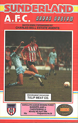 1987/88 Sunderland v Chesterfield, Division 3, PERFECT CONDITION