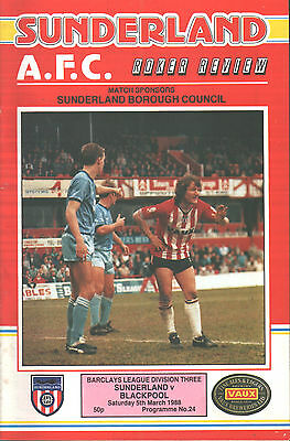 1987/88 Sunderland v Blackpool, Division 3, PERFECT CONDITION