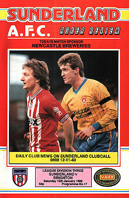 1987/88 Sunderland v Brighton & Hove Albion, Division 3, PERFECT CONDITION