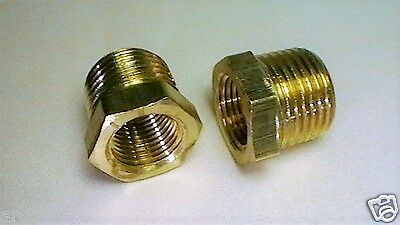 2 Pieces, Brass 1/2 NPT Male Pipe x 3/8 NPT Female Reducer, Free Shipping