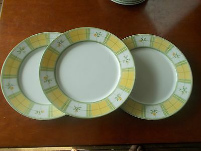3 x M&S Marks and Spencers Yellow Rose Dinner Plates