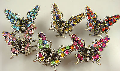 Wholesale 3pcs butterfly claw Crystal alloy Rhinestone Hair Clip Jaw Hairpin d84