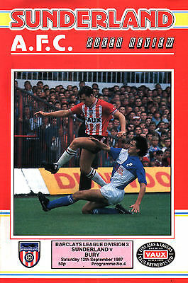 1987/88 Sunderland v Bury, Division 3, PERFECT CONDITION