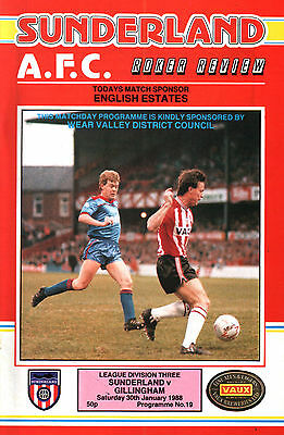 1987/88 Sunderland v Gillingham, Division 3, PERFECT CONDITION