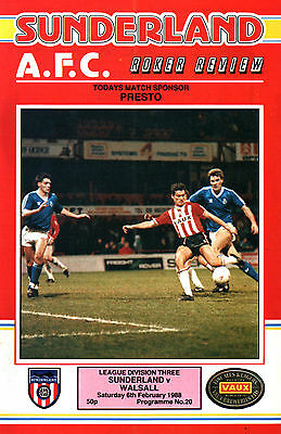 1987/88 Sunderland v Walsall, Division 3, PERFECT CONDITION