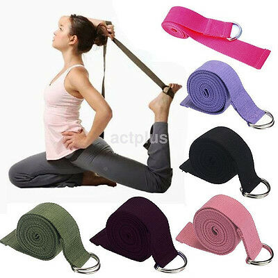 New Cotton Yoga Stretch Strap D-Ring Belt Waist Leg Fitness Adjustable Belt US