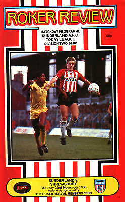 1986/87 Sunderland v Shrewsbury Town, Division 3, PERFECT CONDITION