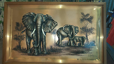 Vintage Copper plaque wall art of elephants 1970's