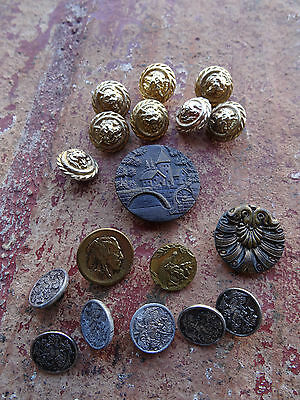 lot 18 boutons anciens angelots lion angels antique buttons