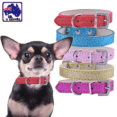 PU Leather Pet Puppy Dog Cat Collar Adjustable Bling Bling Belt Necklace PCAN643