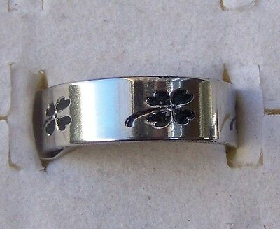 Lucky_Four_Leaf_Clover  ~ Size:10 ~ S/steel  ~ Ring -- (Great_Christmas_Gift)