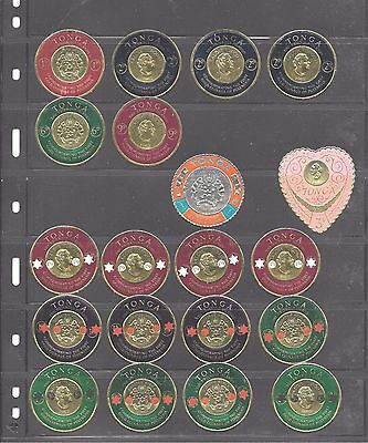 1962-67 Tonga Coin Stamps + Overprint Inc Duplicates Unmounted Mint See Scan