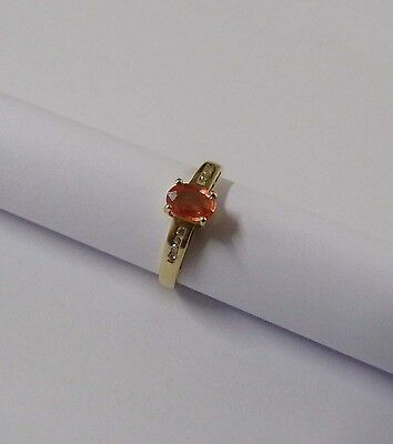 Bague saphir orange padparadja  or 18 carats 18 k diamants  *