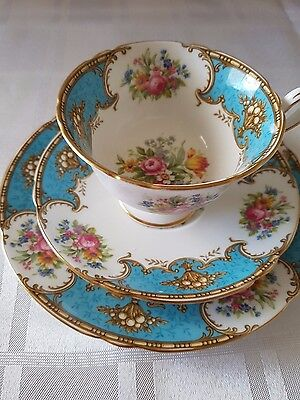 Shelley Duchess Blue  Tea cup, saucer and side plate trio 13403 Excellent Cond