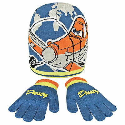 Childrens Disney Planes Accessory Set Matching Hat & Gloves Boys Dusty Blue New