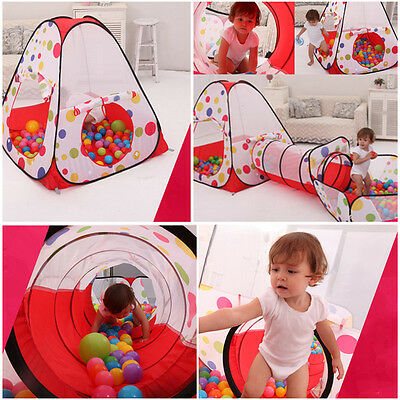 Foldable Children Tent Pool-Tube-Teepee 3pc Toy Tunnel Kids Play House Ball Pool