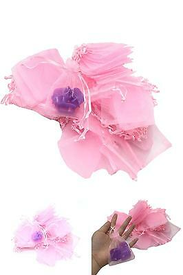 Huele Pack Of 100 Pink Color Organza Drawstring Gift Bag Pouch Wrap For Party/Ga