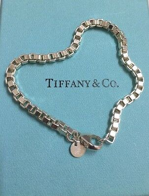 "Authentic Tiffany & Co T & Co Venetian Box Chain 7.5"" Bracelet 925 Silver"