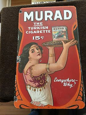 Old Murad Tobacco Porcelain Sign- Double sided!!
