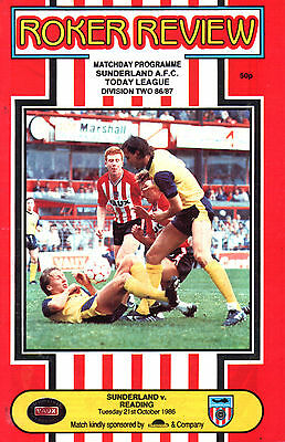 1986/87 Sunderland v Reading, Division 3, PERFECT CONDITION