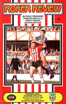1986/87 Sunderland v Oldham Athletic, Division 3, PERFECT CONDITION