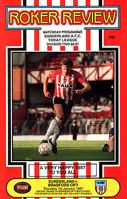 1986/87 Sunderland v Bradford City, Division 3, PERFECT CONDITION