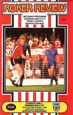 1986/87 Sunderland v Birmingham City, Division 3, PERFECT CONDITION