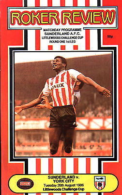 1986/87 Sunderland v York City, League Cup, PERFECT CONDITION
