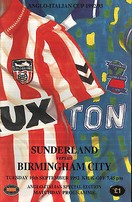 1992/93 Sunderland v Birmingham City, Anglo-Italian Cup, PERFECT CONDITION