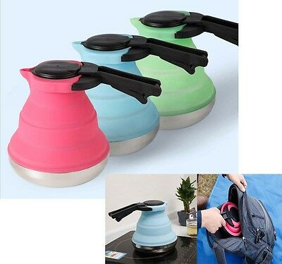 Portable Fold Silicone Boiled Water Kettle Collapsible Teakettle Hiking Camping