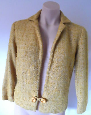 Vintage short mustard bouclee Jacket by TOWN CRAFT Size SSW see measurements