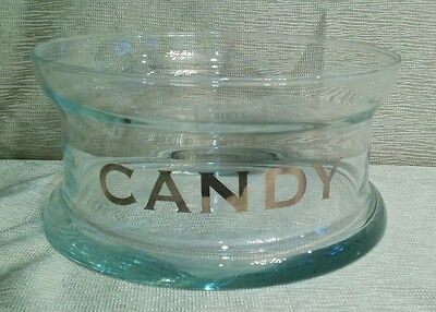 Awesome Sticla Romanai Glass Huge CANDY Bowl / Dish, Silver Letters, Fresh!